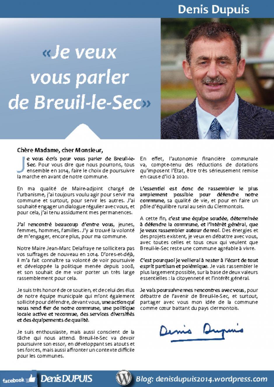 Annonce de la candidature de Denis Dupuis aux élections municipales de Breuil-le-sec